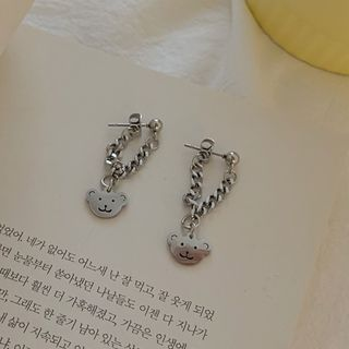 Calypso - Bear Chained Stainless Steel Dangle Earring