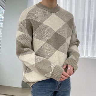 Seoul Homme - Drop-Shoulder Argyle Sweater