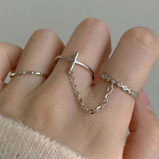 CatSoul - Set of 2: Chained Double Ring + Rhinestone Ring