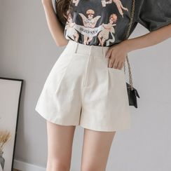 Peachton - Plain Wide-Leg Shorts