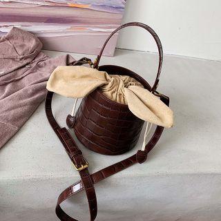 BAGUS - Croc Grain Mini Crossbody Bucket Bag