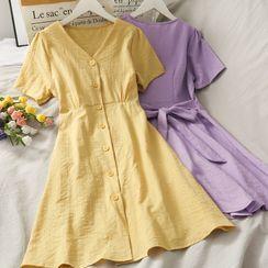 Lemongrass - Embossed V-Neck Shirtdress in 8 Colors