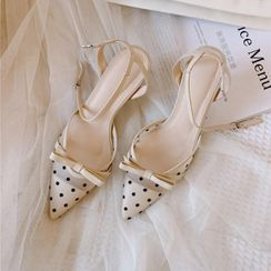 Pangmama - Dotted Ankle-Strap Pointy-Toe High-Heel Sandals