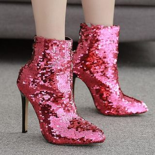 Niuna - High-Heel Sequined Short Boots