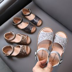 Creayu - Kids Sequined Ankle Strap Sandals