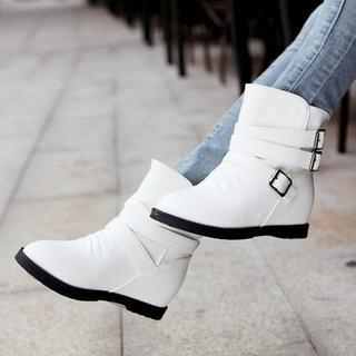 Shoes Galore - Hidden Wedge Buckled Short Boots