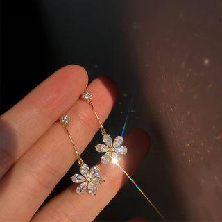 Sanbil - 925 Sterling Silver Rhinestone Flower Dangle Earring