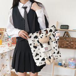 OUCHA - Canvas Cow Accent Shoulder Bag