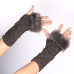 Damasco - Faux Fur Knit Fingerless Gloves