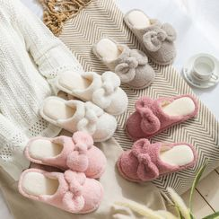 Furana - Bow Accent Fluffy Slippers