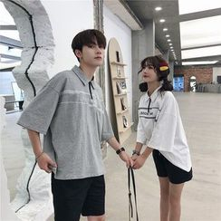 Cowpow - Couple Matching Lettering Elbow-Sleeve Zip-Up Polo Shirt