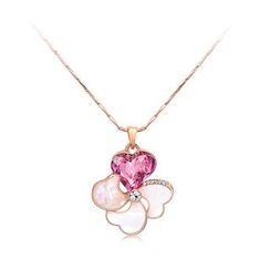 BELEC - Sweet Flower Pendant with Rose Red Cubic Zircon and Necklace