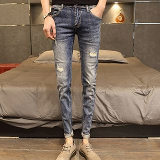 Orizzon - Plain Distressed Slim-Fit Jeans