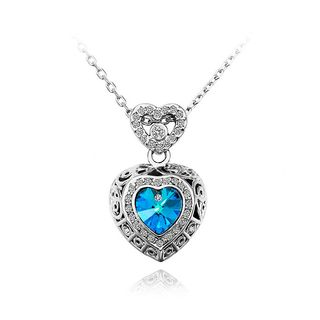 BELEC - Fashion Heart Pendant with Blue Austrian Element Crystal and Necklace