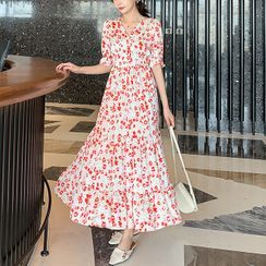 Kimrum - Short-Sleeve Floral Print Midi Dress