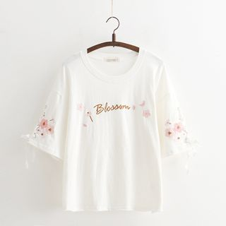 Cat Planet - Flower Embroidered Elbow-Sleeve T-Shirt