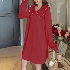 Empressa - Maternity Long-Sleeve Collar Mini Knit Dress