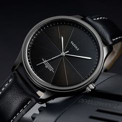 YAZOLE(ヤゾール) - Numberless Faux Leather Strap Watch