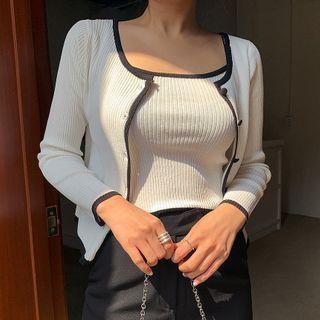 Envy Look - Set: Contrast-Trim Ribbed Cardigan + Camisole Top