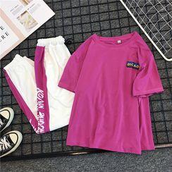 DazTRUE - Set: Elbow-Sleeve Printed T-Shirt + Sweatpants