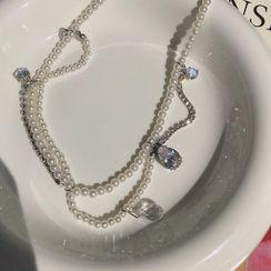 EBIZA - 人造水晶吊坠仿珍珠多层项链