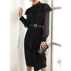 Styleonme - Ruffle-Detail Midi H-Line Skirt