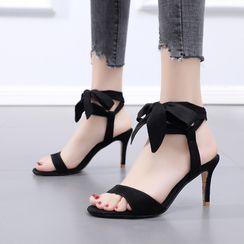 安若 - 厚底踝结带高跟凉鞋