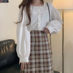 Joyolo - Balloon-Sleeve Blouse / Plaid Midi A-Line Skirt