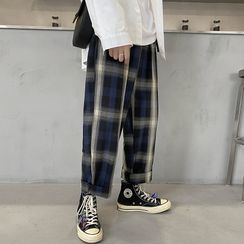 JUN.LEE - Plaid Cropped Straight-Fit Pants
