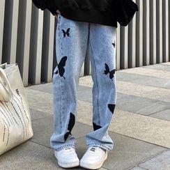 Costana - 蝴蝶印花直筒牛仔裤