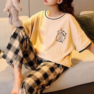 Jeony - Loungewear Set : Short-Sleeve Bear Print Top + Pants