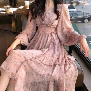 Antoinine - V-Neck Floral Chiffon Maxi Dress