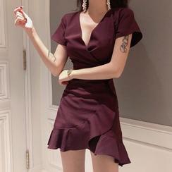 Glen Glam - Short-Sleeve Ruffle Wrap Mini Dress