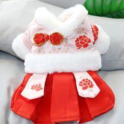 Bixin - 碎花抓毛襯裡寵物連衣裙