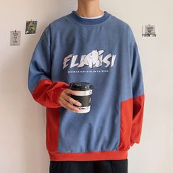 Obikan - Polar Bear Print Two-Tone Pullover