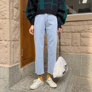 MERONGSHOP - Distressed Wide-Leg Jeans