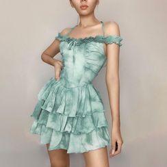 Guadaloopus - Cold-Shoulder Tie-Dye Print Layered Mini A-Line Dress