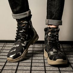 WeWolf - 真皮印花抓毛裡襯短靴