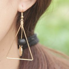 City of Stars - Wooden Bead Alloy Triangle Dangle Earring