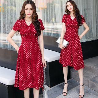 Sienne - Short-Sleeve Button-Up Polka Dot A-Line Dress