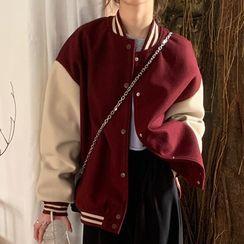 Laurinda - Lettering Embroidered Baseball Jacket