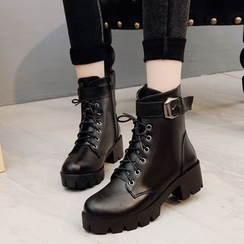 Weiya - Chunky Heel Lace-Up Ankle Boots