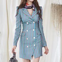 Yolandus - 条纹双排扣迷你塑身西装外套连衣裙