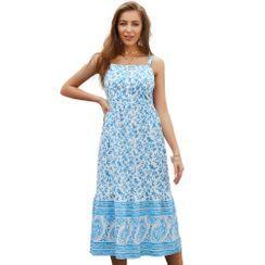 TRUMMENT - Spaghetti Strap Floral Print Midi A-Line Dress