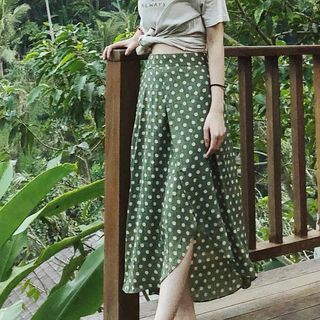 Bella Vintage - Dotted Chiffon Midi A-line Skirt