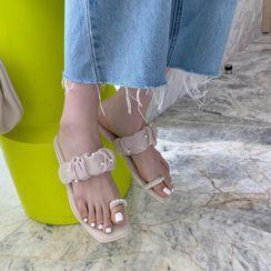 Anran - Faux Pearl Flat Slide Sandals