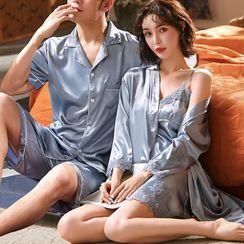 rivasong - Couple Matching Loungewear Set : Lace Trim Suspender Skirt + Robe + Short-Sleeve Top + Shorts