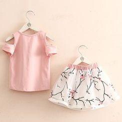Seashells Kids - Kids Set: Butterfly Applique Cold Shoulder Short-Sleeve T-Shirt + Printed A-Line Skirt