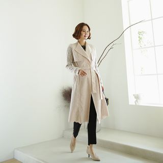 Lemite - Laced Trench Coat with Sash