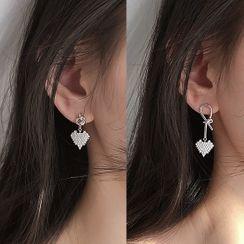 Honne - Non-Matching Rhinestone Heart Drop Earring
